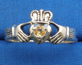 Yellow Sapphire Claddagh Ring, Hand Crafted Recycled Sterling Silver, Irish, Celtic Ring