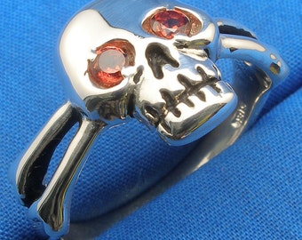 Garnet Eyes, Skull and Cross Bones Ring, Recycled Sterling Silver, January Birthstone, Aquarius