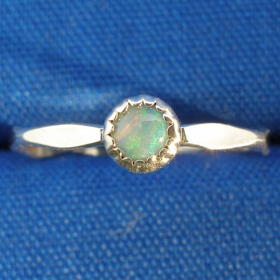 Opal Baby Keepsake Ring, October Birthstone, Hand Crafted Recycled Sterling Silver