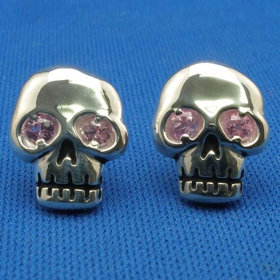 Skull Earrings, Pink Sapphire, Hand Crafted Sterling Silver, post stud earrings