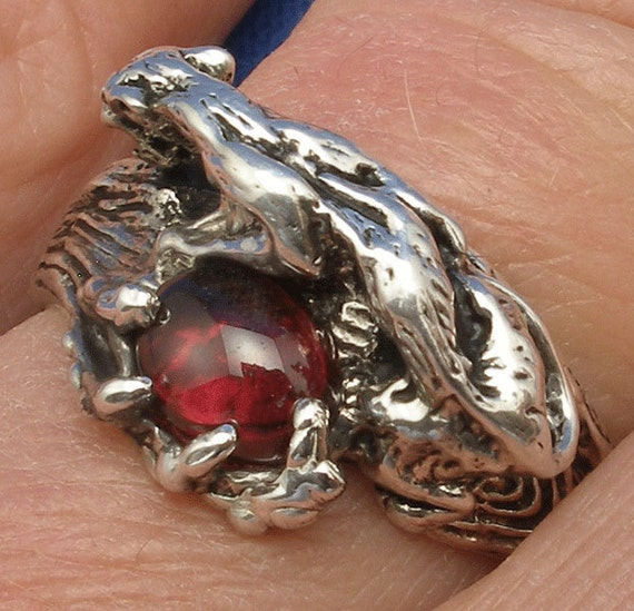 Cougar, Mountain Lion Ring, Garnet, Recycled Sterling Silver, January birthstone