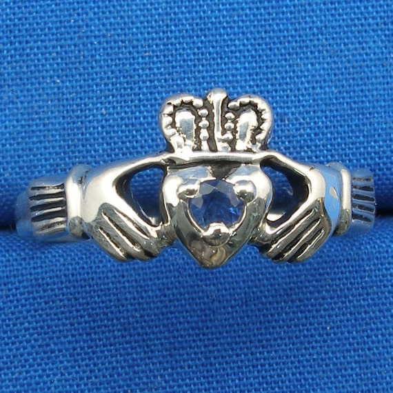 Claddagh Ring, Blue Sapphire, Hand Crafted Sterling Silver Celtic Ring