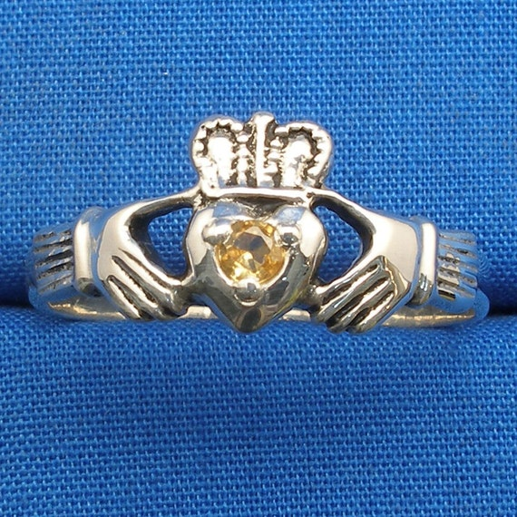 Yellow Sapphire Claddagh Ring, Hand Crafted Recycled Sterling Silver, handmade Irish wedding ring, September, November Birthstone
