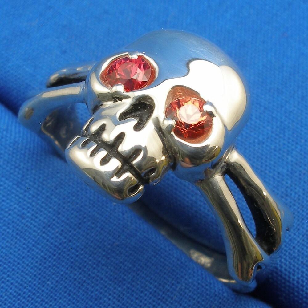 Skull And Cross Bones Ring Padparadscha Sapphire Eyes