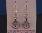 Vintage Trailer Petite Glass Gem Earrings in PINK