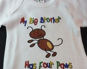 Adorable Baby Personalized Onesie - My Big Brother/Sister Has Four Paws