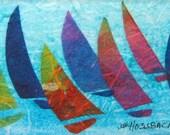 Colorful Sails - original small watercolor