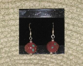Pink with Aqua Dots Earrings