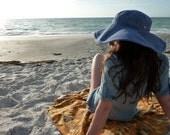 Light Blue Denim Floppy Sun Hat //  Sun Hat with Leather Ties