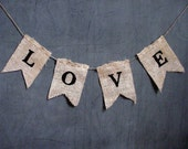 LOVE Wedding Burlap Banner