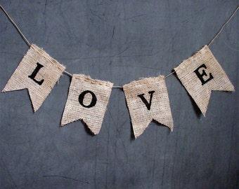 LOVE Wedding Burlap Banner