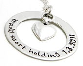 Baby Name Hand stamped Personalized Sterling Silver Necklace - Newborn Keepsake Washer