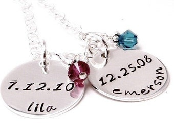 Mommy's Keepsake - Personalized hand stamped sterling silver necklace
