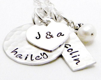 Hand Stamped Necklace - Sterling Silver Personalized Necklace - Close to My Heart