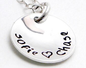 Just Us - Personalized hand stamped sterling silver necklace