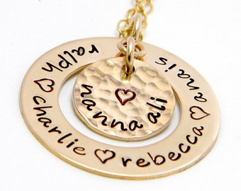 Golden Family Keepsake- Personalized Gold Filled hand stamped necklace