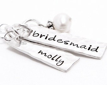 My Bridesmaid - Personalized sterling silver hand stamped necklace