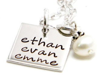 Personalized Square Hand Stamped Necklace - Mom Jewelry