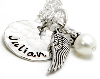 Hand Stamped Jewelry - Angel Personalized Necklace