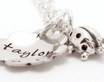 Little Ladybug - Pesonalized sterling silver hand stamped necklace