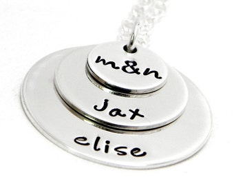 Personalized Layered Mom Necklace - Hand Stamped Jewelry - Stacked
