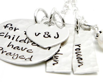 For this child I have prayed Necklace - Personalized Hand Stamped Jewelry Sterling Silver