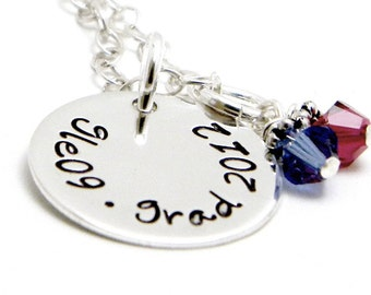 Personalized Sterling Silver Hand Stamped Necklace - Proud Graduate
