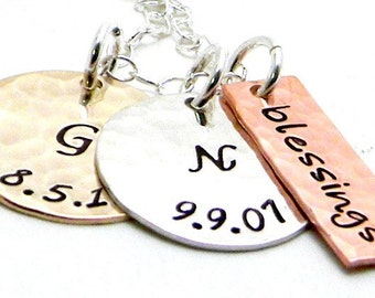 Gold Personalized Hand Stamped Necklace - Golden Mix Up