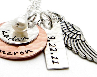 Personalized Mixed Metal - Hand Stamped Necklace - Angel Baby