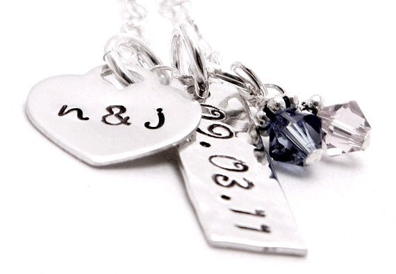 Couples Keepsake - Personalized sterling silver hand stamped necklace