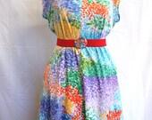 Size 16/18: 1980's handmade multi-coloured four-panel slip-on stretch summer dress