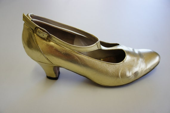 Custom made gold leather t-bar 1920s style flapper shoes