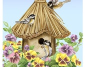 Chickadees and Pansies at the Birdhouse Art Print