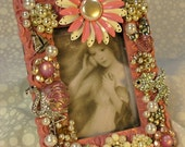 Jeweled Picture Frame Vintage Jewelry Ocean Themed Pink Mermaid, Swarovski Crystal