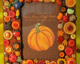 Autumn Fall Embellished Button Picture Frame