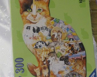 Calico Cat 300 Piece  Signed Shaped Puzzle Autographed by Artist