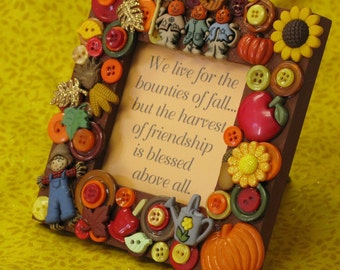Autumn Fall Embellished Button Picture Frame with Friendship Poem
