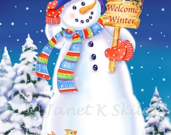 Welcome Winter Snowman Print Signed by Artist