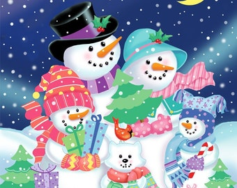 Snowman Family Christmas Autographed Print by Artist