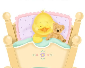 Baby Duck in a Cradle Children's Personalized Art Print Autographed by Artist