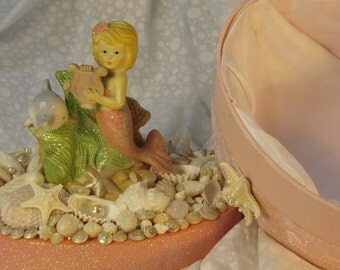 Mermaid and Dolphin with Seashells Trinket Box for Jewels and Treasures