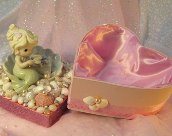 Mermaid and Seashell Trinket Box for Jewels and Treasures