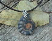 Ammonite and sterling silver necklace. Handmade.