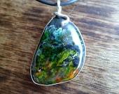 Sunrise Jasper and sterling silver necklace. Handmade.