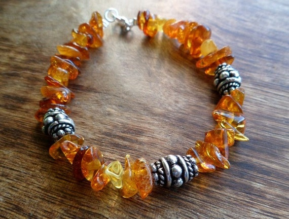 Baltic Amber and sterling silver bracelet. Handmade.