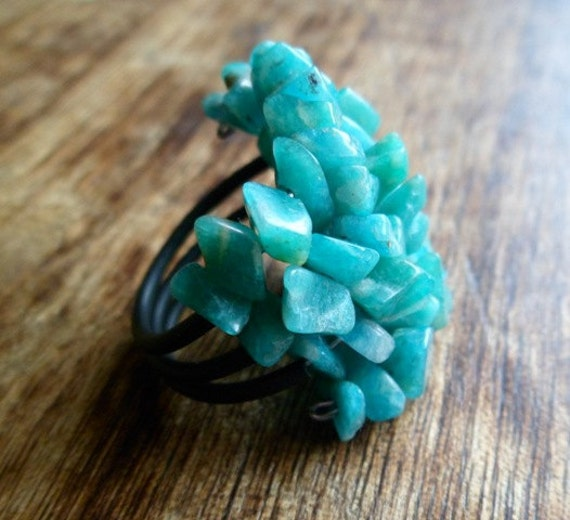 Green Amazonite ring - adjustable (mineral properties).