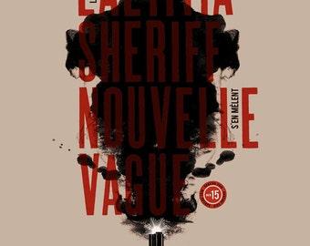 Screenprint Rock poster Laetitia Sheriff & Nouvelle Vague