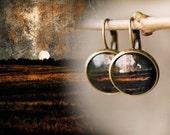 Glass Earrings, Sunset rye field, vintage, gift box