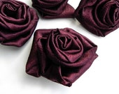 SATIN ROSES, Dark Burgundy, Set of 4