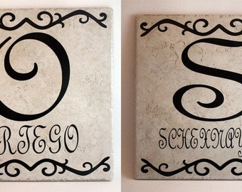 Ceramic Tile Name Plate with Initial, Last Name, and Top and Bottom Decorative Border - 12 inch
